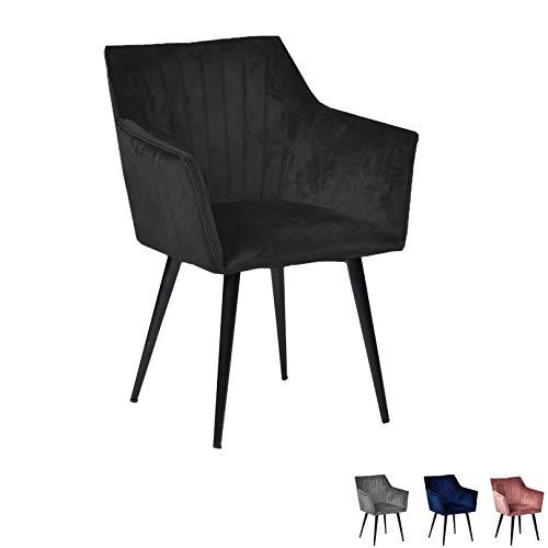 Nimara Mary Samt Stuhl mit Armlehne | Esszimmerstühle Schwarz | Stühle mit Armlehne | Skandinavisches Design Armlehnstuhl (Schwarz)