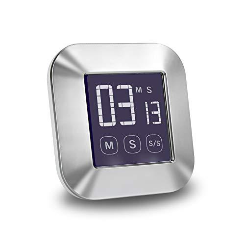 E-More Temporizador de cocina, pantalla táctil, temporizador de cocción digital, reloj de cuenta regresiva magnético, pantalla LCD grande, alarma fuerte