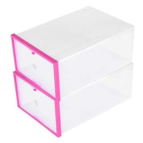 Raguso Caja de Zapatos de plástico Cajón de Caja de Zapatos Transparente con Puerta de Apertura Lateral(Pink)