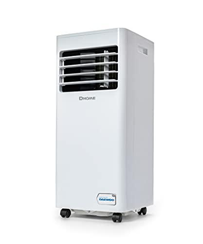 Daewoo DA7KWE Condizionatore Portatile - 7000 BTU - Climatizzatore d'Aria Mobile - 3 in 1 Deumidificazione, Raffreddamento, Ventilazione - Timer - Bianca