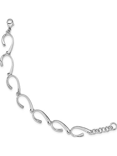Sterling Silver Ss White Ice .06Ct. Diamond With 1In Ext Bracelet (Length=7) (0.06 Ct White Diamond)