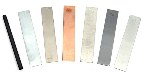 Metal Electrodes 7 Piece Set, Aluminium, Copper, Zinc, Nickel, Tin, Iron & Graphite - Eisco Labs