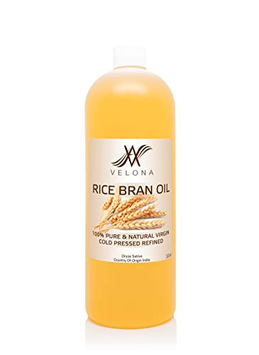 Rice Bran Oil by Velona - 32 oz | 100% Pure and Natural Carrier Oil | Unrefined, Cold Pressed | Cooking, Face, Hair, Body & Skin Care | Use Today - Enjoy Results
