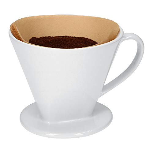 Kaffeefilter No. 4 aus weißem Porzellan | 16.5 x 13.5 x 12 cm | SoftBrew-Verfahren I schonende Zubereitung von Tee & Kaffee | manuelles Filter-Gerät