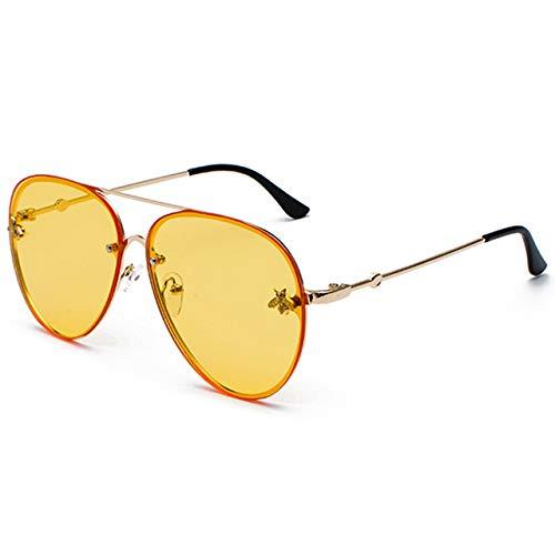 SILTYJ Su diseñadornglasses Objetivos, Hombres de Las Mujeres de la Pendiente del Metal Marco Retro Gafas de Sol de Color Amarillo C6