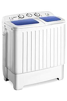 Giantex Portable Mini Compact Twin Tub Washing Machine 17.6lbs Washer Spain Spinner Portable Washing Machine Blue+ White