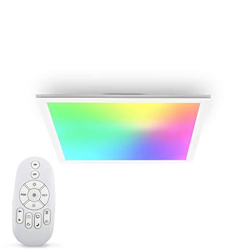 B.K.Licht LED Panel I Farbtemperatur stufenlos einstellbar I 450x450x42mm I 7 Farben I Ultra Flache Deckenleuchte I Dimmbar I Fernbedienung