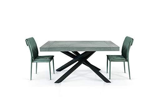 Fashion Commerce Tavolo FC1614, Legno, Grigio Beton-Antracite, 180 x 100-280 x 100 cm