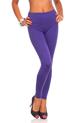 FUTURO FASHION FUTURO FASHION - Damen Leggings aus Baumwolle - knöchellang - weich - Übergrößen - Lila - 42 Klassische Bundhöhe