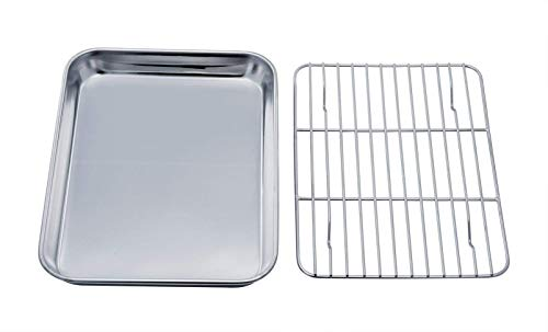 TeamFar Toaster Oven Tray and Rack Set, Stainless Steel Toaster Oven Pan Broiler Pan, Compact 7x9x1, Non Toxic & Healthy, Easy Clean & Dishwasher Safe