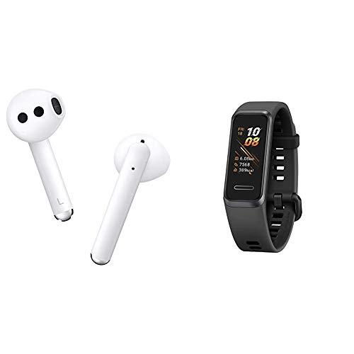 HUAWEI FreeBuds 3 kabellose Kopfhörer mit Active Noise Canceling (ultra schnelle Bluetooth-Verbindung, 14mm Lautsprecher, kabelloses Aufladen) Weiß + Band 4 wasserdichter Bluetooth Fitness