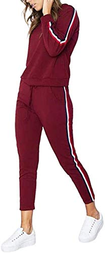 Sport Leggins,Yogahose Joggingpakken for vrouwen 2 delig trainingspak met lange mouwen Running Suits Yoga joggingbroek Set Stripes joggingpak set for vrouwen T-shirt + Mid taille broek Training van de