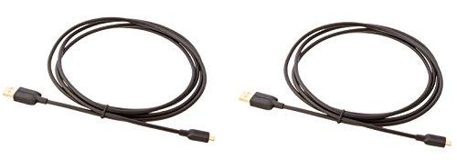 Amazon Basics 7WXKV4 Verbindungskabel, USB 2.0, USB-A-Stecker auf Micro-USB-B-Stecker (2 Stück), 1,8 m, Schwarz