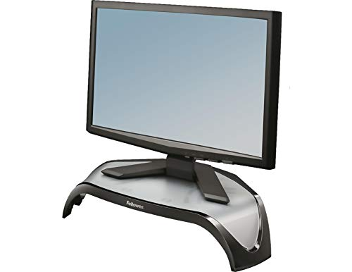 Fellowes Monitorstander Smart Suites hohenverstellbar fur Monitore bis 21 Zoll platzsparende dreieckige Form
