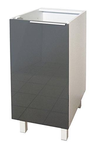 Berlenus CP4BG Küchenunterschrank, 1 Tür, 40 cm, Hochglanz Grau