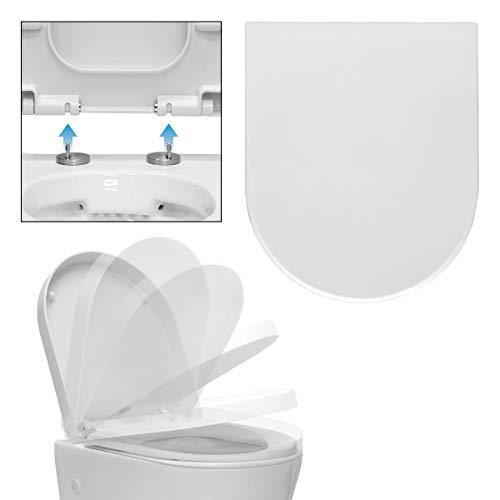 ECD Germany Premium Duroplast Toilettendeckel D-Form mit Soft-Close Absenkautomatik auf Knopfdruck abnehmbar Weiß, inkl. Befestigungsmaterial, Klodeckel WC Sitz WC Deckel Toilettensitz Klobrille