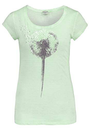 Fresh Made Damen Pastell T-Shirt mit Pailletten Pusteblume Light-Green M