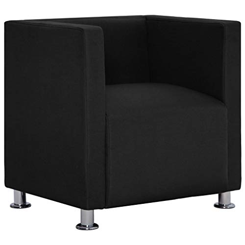 vidaXL Sillón Forma Cubo Cuadrado Tapizado Poliéster Diseño Moderno Elegante Butaca Vintage Estilo Le Corbusier Estructura Madera Patas Cromadas Negro