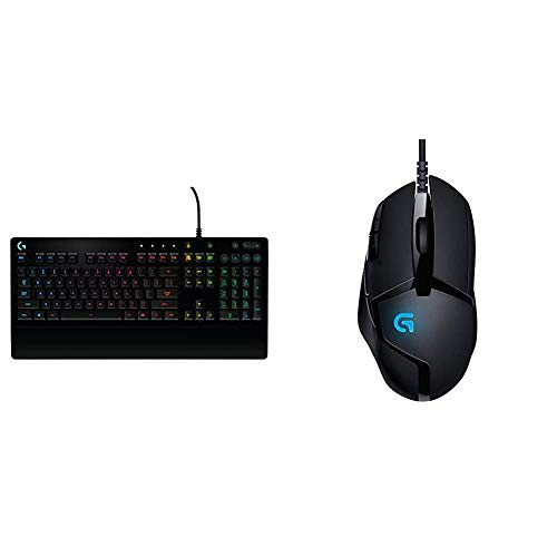 Logitech G213 Prodigy Gaming Keyboard, RGB Lightsync Backlit Keys, Spill-Resistant + Logitech G402 Hyperion Fury FPS Mouse Gaming