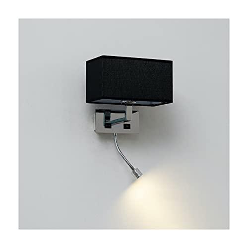 KOSILUM - Applique murale liseuse Noire- métal/tissu Adonis - Lumière Blanc Chaud Eclairage Salon Chambre Cuisine Couloir - 40 W E27 + 3W LED - 195 lm (LED) - E27 - IP20