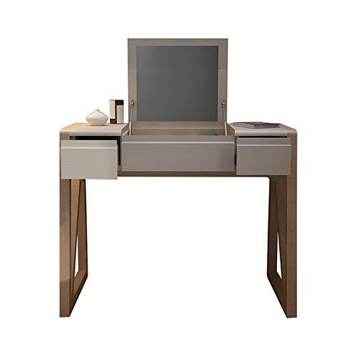 Juego de tocador Huangjiahao de madera maciza con espejo superior abatible y taburete acolchado, escritorio de estudio con 2 cajones para dormitorio, cuarto de baño para dormitorio, vestidor, metal, natural, 96x50x75cm