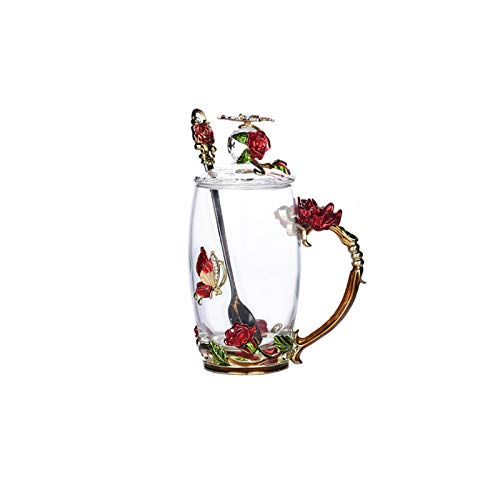 SMNVCKJ Emaille Glas Rose Kaffeetassen Mit Blumengriff - Handgemachte Blume Teetasse Mit Löffel Und Deckel Geschenkbox, EIN Geschenk Für Mutter, Freund, Lehrer (rot,350 ml)