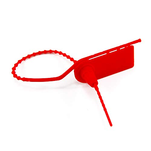 100 Pull Tite Security Plastic Tamper Seals Numbered Tags for Fire Extinguishers Tear Off Zip Tags Selflocking 210mm Red