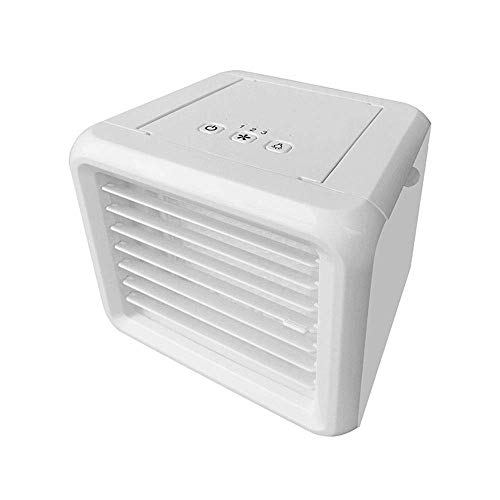 OGUAN Fan de USB, Mini humidificador de Aire Enfriador USB portátil de Ruido del refrigerador del Aire Acondicionado Ventilador de Baja (Color: Blanco, Tamaño: 15.5x15.5cm)