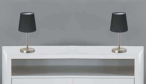 Trango Juego de 2 lámparas LED para mesilla de noche 2017-27B *Blacky* Lámpara de mesa con pantalla de tela en negro, incl. 1 bombilla LED E14 de 3000K, luz blanca cálida, para alféizar de la ventana
