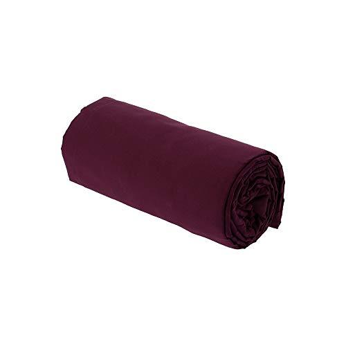 Drap House Percale 160x200 Bonnet 40 cm Prune - Couleur: Prune
