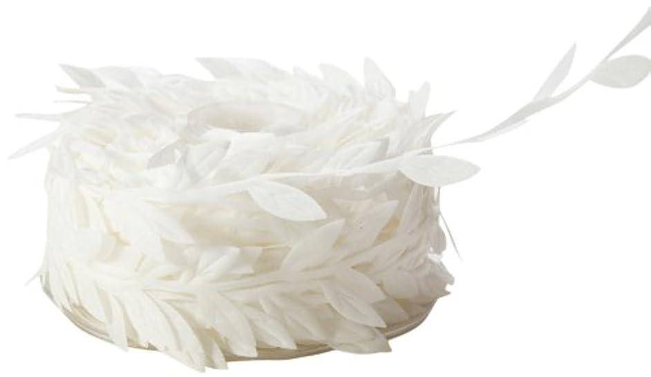 May Arts Ribbon, White Leaves