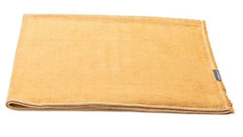 David Fussenegger - Siena - Plaid - Tagesdecke - Bettüberwurf - Fischgrätstruktur - Gold - 150 x 200 cm