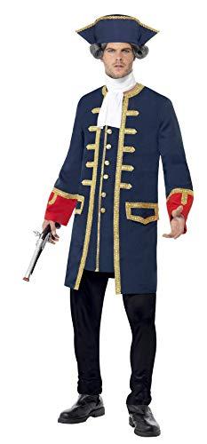 Smiffys-24168M Soldado Disfraz de comandante pirata, con abrigo y sombrero, color azul,...