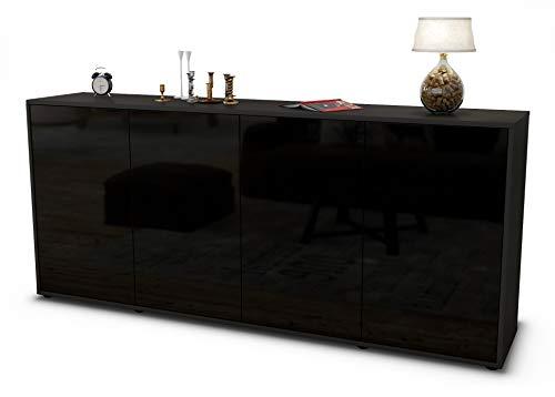 Stil.Zeit Sideboard Elana/Korpus anthrazit matt/Front Hochglanz Schwarz (180x79x35cm) Push-to-Open Technik