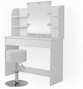 Vicco Schminktisch Charlotte Frisiertisch Kommode Frisierkommode Spiegel Weiß inklusive Hocker und LED-Lichterkette