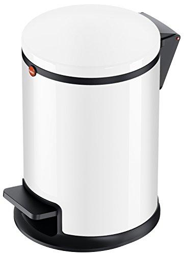 Hailo Pure S, Mülleimer aus Stahlblech, 3 Liter, Müllbeutel-Klemmringsystem, Deckeldämpfung (Soft Close), Tragegriff, weiss, made in Germany, 0504-030