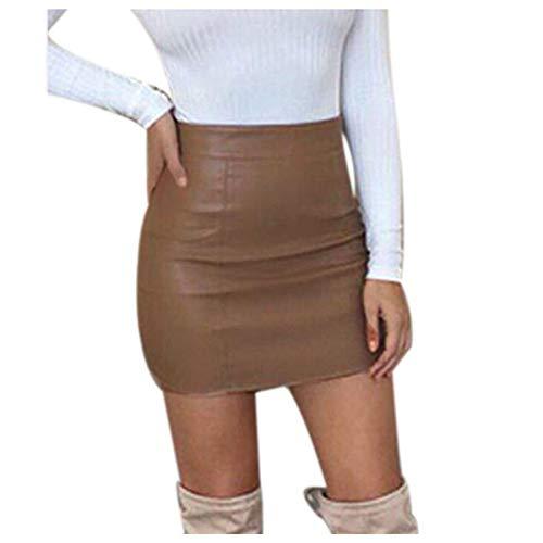 Mujeres Cool Metallic Liquid Wet Look Minifalda de Color sólido Vestido de Piel sintética con Cremallera Mini Falda Corta Vestido de Fiesta de Club Nocturno