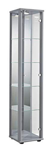 K-Möbel Glasvitrine in Silber (176x37x33 cm) mit 4 höhenverstellbaren Glasböden aus ESG, LED, Schloss und Spiegel; beleuchtet; perfekt für Sammler;