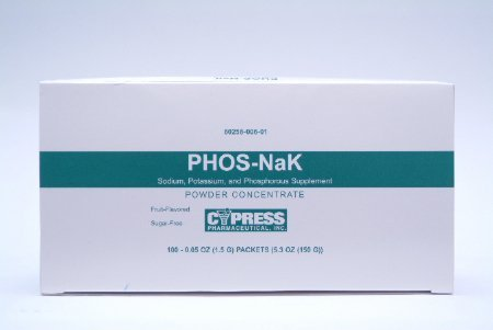 MCK27102700 - Cypress Pharmaceutical Phos-NaK Dietary Supplement Sodium / Potassium / Phosphorus 160 mg - 280 mg - 250 mg Unit Dose, Oral Powder Concentrate Packet Fruit Flavor