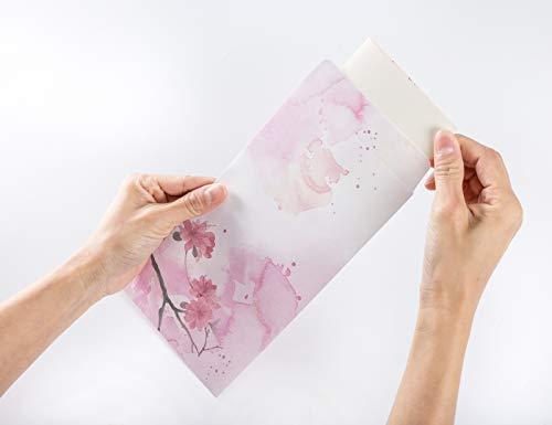 ELTNEGSA Total 60PCS Writing Paper Letter Set (40 stationery Papers + 20 Envelopes) 10 Different Color Ink Painting Classic Vintage Antique Design