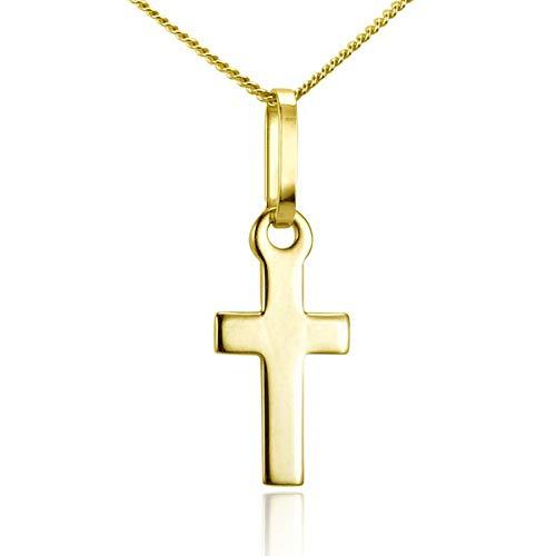 Materia dames kruisketting klein van 375 goud - 9 karaat gouden ketting met kruis hanger 1,23 g/42 cm in etui gka-1