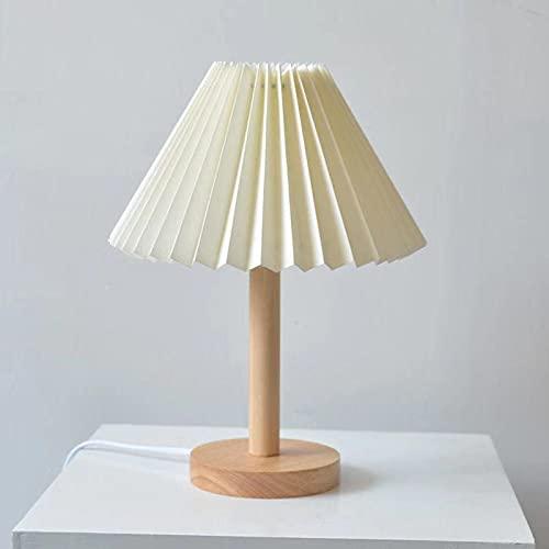 Xyxiaolun Lámpara de Mesa Plisada Coreana Madera Nightstand de la lámpara de la lámpara de la lámpara de la Lectura Luz de la Mesa para la Sala de Estar Dormitorio del Dormitorio Enchufe Decorativo