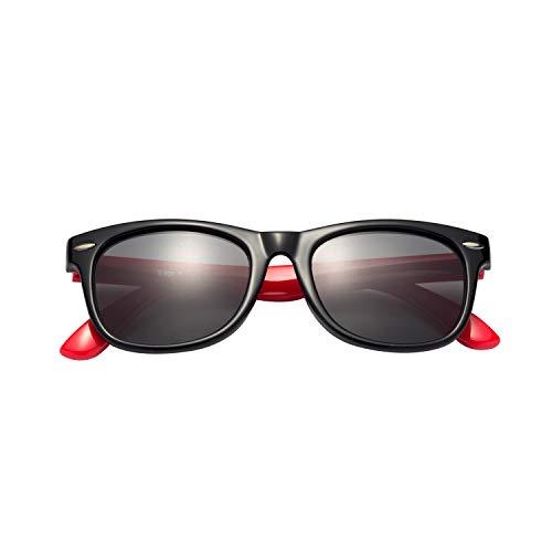 (レンサン) LianSan子供用サングラス 偏光レンズ 赤ちゃん用 男の子と女の子兼用 柔軟なフレーム 安心 かわいい UV400 紫外線対策 UVカット (ブラック レッド)