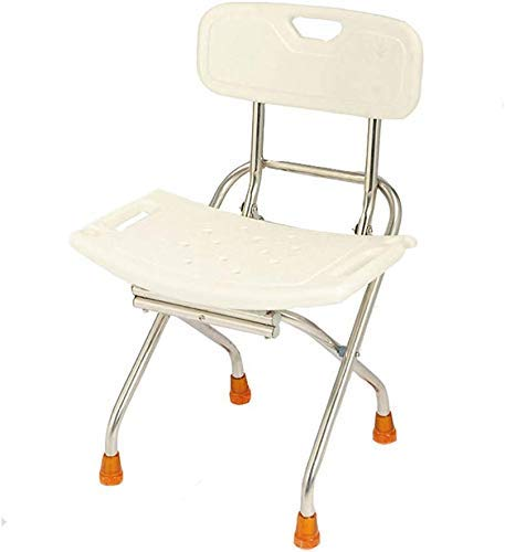 ZUQIEE Stools Stool White Foldable Stainless Steel Shower Stool Elderly/Handicapped/Pregnant Backrest Bath Stool Safety Antislip Chair Max. 130kg Bath Stools
