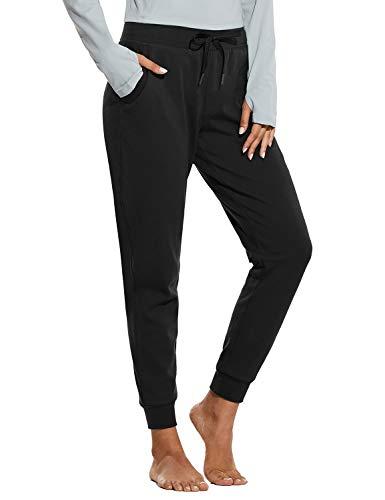 BALEAF Women's Sherpa Lined Joggers Warm Fleece Athletic Sweatpants Winter Lounge Walking Pants Black Size M