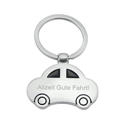Hanessa Gravierter Schlüsselanhänger mit Wunsch Gravur Zinklegierung Auto Anhänger in Silber mit individuellem Text, Geschenk für Fahranfänger zum Führerschein Allzeit Gute Fahrt