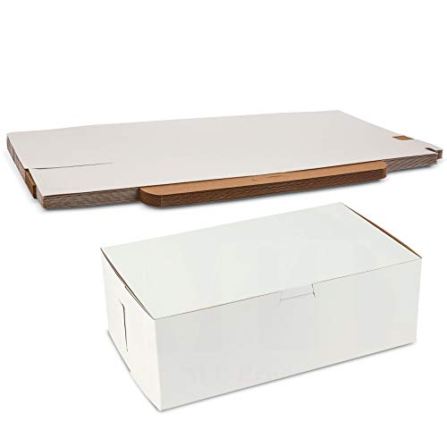 White Non-Window Auto-Lock Bakery Box Clay Coated Kraft Paperboard Interior 10' Length x 6' Width x 3 1/2' by MT Products - (Pack of 15)