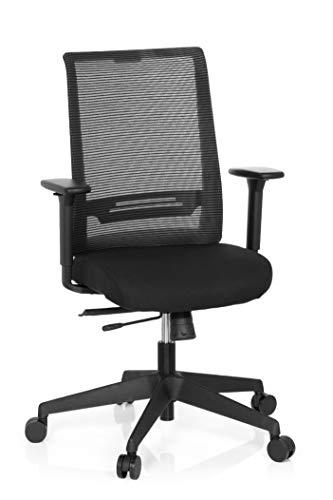 hjh OFFICE 608970 Bürostuhl Coniston Netz-Stoff Schwarz Schreibtisch-Stuhl Ergonomisch verstellbare Armlehne 120-kg Netzrücken