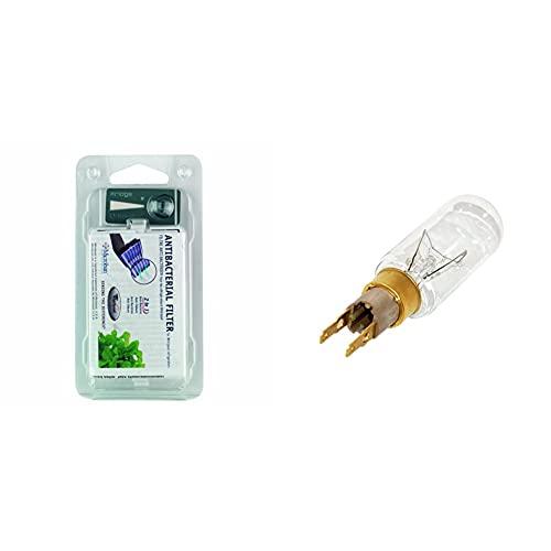 Whirlpool 481248048172 Filtro antibacterias para frigorífico + Bombilla de repuesto para frigorífico American (T Click, 40 W, 240 V, F1)