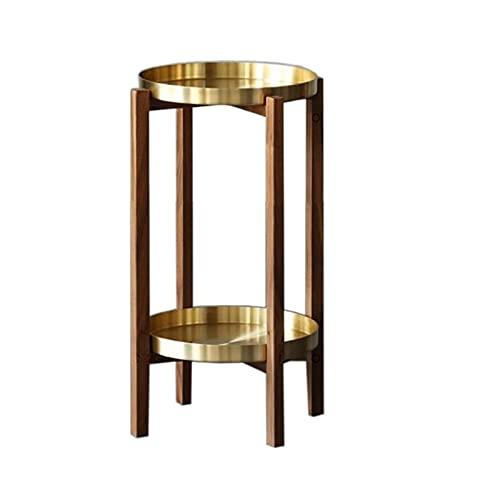 JCNFA Tavolini da caffè Tavolino in metallo con vassoio in rame puro a 2 livelli,Tavolino da caffè per interni ed esterni Accent,Tavolo da pranzo snack,Noc(Size:11.17*11.17*21.45in,Color:walnut color)